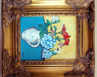 ORIGINAL PAINTING Post Impressionism Still Life Oil Impressionist Colorful Flowers Vase Floral COA plus Free Shipping