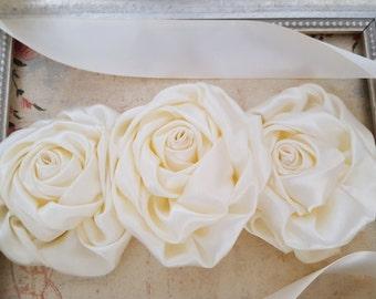 Ivory Bridal Sash, Ivory Wedding Sash, Ivory Bridal Belt, Ivory Satin Flower Sash, Ivory Flower Sash