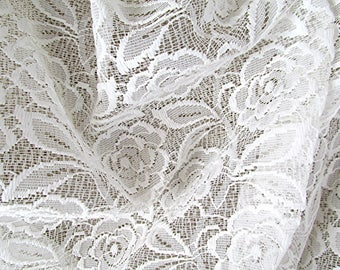 Lace curtain fabric lace curtain material white lace fabric lace material window dressing material cottage curtain vintage fabric.