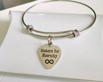 Sister Gift, Gift For Sisters, Sisters for Eternity, Birthday Gift,  Adjustable Bangle Bracelet, Comes in Pillow BOX