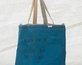 Terrapin Tote, Big Beach Bag, 1982, Sailcloth Bag, Recycled Sails