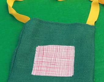 Kids Green Hessian Shoulder Bag with Red & White Checked Decoration Fabric