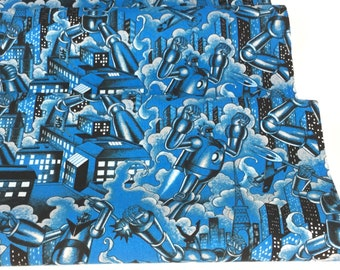 New Fabric ~ Tokyo Bots Blue Color ~ Nicole's Prints for Alexander Henry Fabrics ~ Cotton Quilt Fabric
