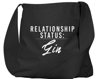 Relationship Status: Gin Black Organic Cotton Slouch Bag