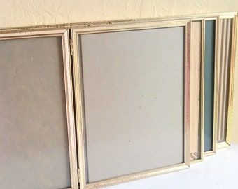 Vintage Folding 8x10 Gold Metal Picture Frames with Glass Wedding Decor Family Pictures Hollywood Regency 4 Four Lot Set