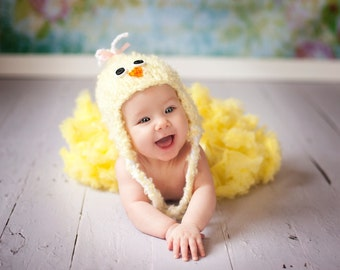 Knit Baby Chick Hat Pattern - Knit Chick Hat Pattern - Knit Easter Hat Pattern - Baby Chick Hat Knitting Pattern
