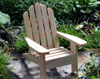 Adirondack Chair, Natural for Miniature Garden, Fairy Garden