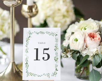 Printable Table Number Cards - Botanical Garden Wedding Table Numbers Printable - Wedding Reception - Number 1 to 20 - (Item code: P934)