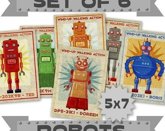 "Kids, Robot Wall Art for Kids Room Decor, Robot Prints 6 Retro Robot Art 5"" x 7"" Land of Nod Retrobots Robot Prints, Sci Fi Art, Kid Bedroom"