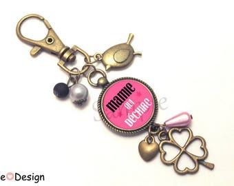 Key chain gift for Grandma - Nana tearing pink Tan Black