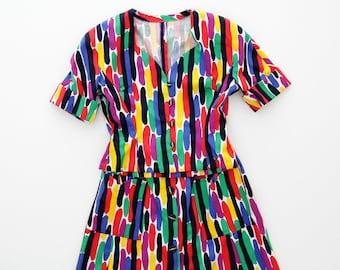 Vintage skirt and jacket set // 70s colorful summer skirt suit // size M