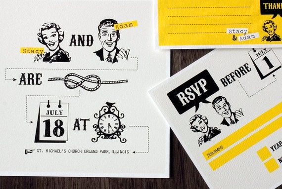 Funny Wedding Invitation Wording: Funny Wedding Invitation Set With Yellow Retro Design