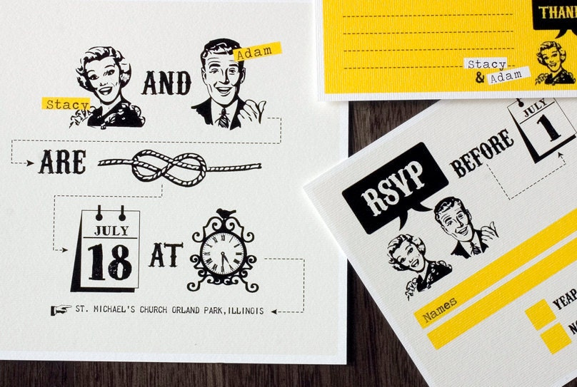 Funny Invitations For Wedding: Funny Wedding Invitation Set With Yellow Retro Design
