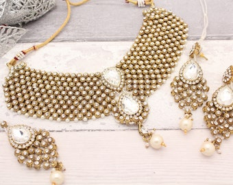 Gold Silver Indian Bollywood Choker Necklace Set with Earrings, Tikka Headpiece & Jhoomer Bridal Wedding