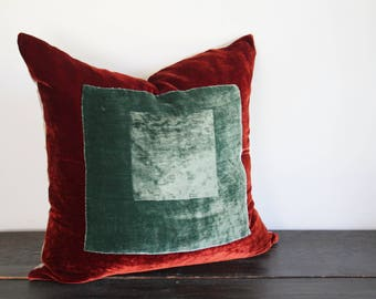 Large Deep Rust and Ice Blue Green Squares within Squares Modern Silk Rayon Velvet and Linen Throw Floor Pillow