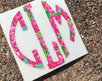 Lilly Pulitzer Inspired Circle Monogram