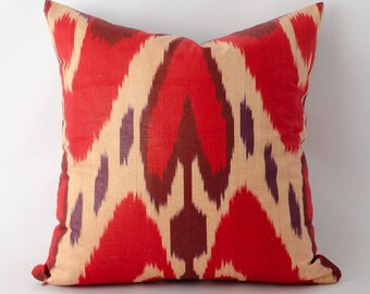 14x14 red ikat pillow cover