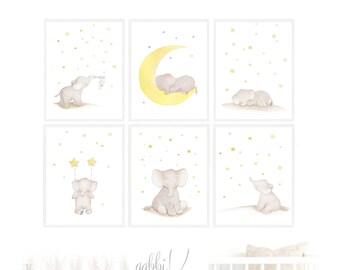 Set Elephant Star Moon Nursery Wall Art,Set Animal Nursery Elephant,Set Elephant Children,Elephant Boy Girl Nursery,Elephant Star Moon Art
