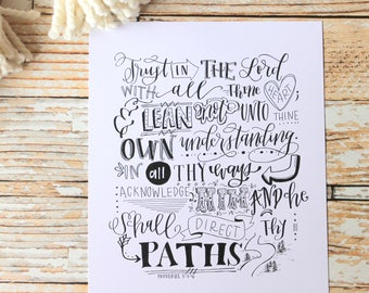 PRINTABLE Proverbs Scripture// Hand lettered Print// Hand Lettering Quote// Trust in the Lord