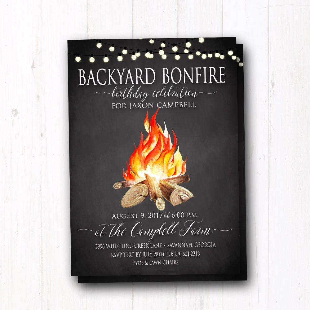 Rustic Bonfire Party Invitation BBQ Birthday Invite