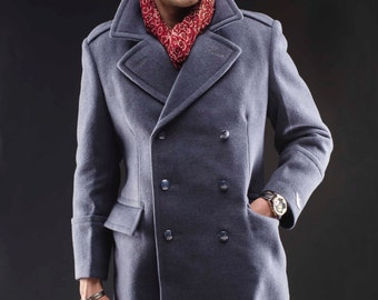 1980's Unissued Blue-Gray MILITARY STYLE VINTAGE Polish Air Force Overcoat Greatcoat