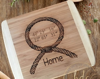 Personalized Cutting Board-Your Coordinates Cutting Board-Housewarming Gift-Personalized