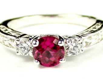 Created Ruby w/ Two 4mm CZ Accents, 925 Sterling Silver Engagement Ring, SR254