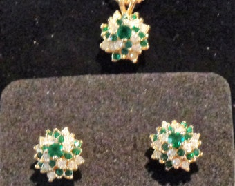 7. Emerald & Diamond Pendant and Earrings