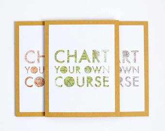 2018 Graduation Card for College Graduate, Good Luck Card, Congratulations Card for Graduate, Chart Your Own Course Card