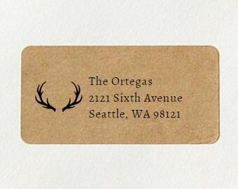 Antler Address Labels, Return Address Labels - Deer Antler Address Labels, Custom Printed Brown Kraft Labels, Wedding Return Address Labels