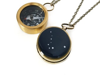 Ursa Major and North Star Necklace, Small Working Compass, Constellation Jewelry, Astronomy, North Star Jewelry, Big Dipper, Stars
