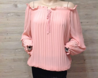 SALE,Chiffon Pleated Pink Blouse off the shoulder wide long Sleeves Wrap Cold Shoulder elasticated waist casual loose Top handmade,size M L