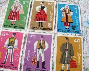 Folk costumes - Romanian folk costume stamp set - vintage stamps - postage stamp ephemera