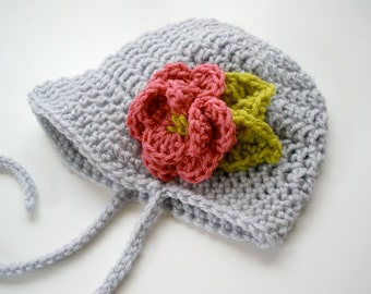 Custom Crochet Flapper Baby Bonnet Hat with Flower - Any Size - Any Color
