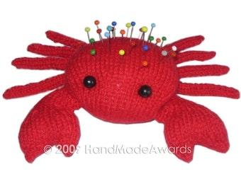 The RED CRAB Pincushion Pdf Email Knit PATTERN