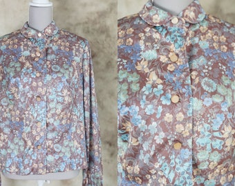 70s Floral Blouse, Floral Shirt, Vintage Silky Shirt 1970 Mod Style Shirt, Size S, Small
