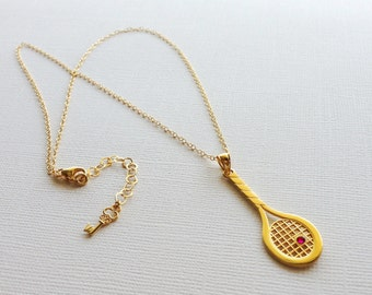 Tennis Racket Necklace with Swarovski Crystals in Sterling Silver (18k Yellow Gold Plating), Tennis Team Gift