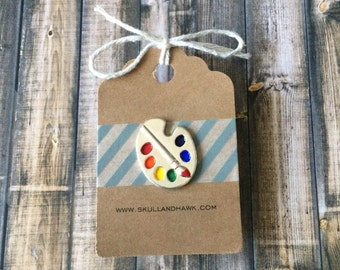 Paint Palette Pin - Artist Lapel Pin - Silver Tone - Enamel - Tack Backing with Clutch Clasp