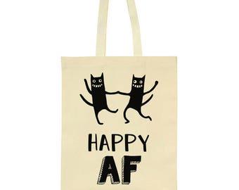 Happy AF Crazy Dancing Cats Design Tote Bag