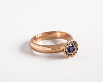 Blue Sapphire with Black Diamond Cluster Ring, Modern Engagement Ring, Saphire, Unique Sapphire Anniversary Ring Rose Gold 18k