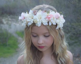 Ivory & Pink Flower Crown- Flower Girl Crown - Bridal Flower Crown- Flower Girl Wreath- Photo Prop - Baby Flower Wreath- Blush Hair Wreath