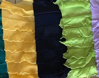 "1"" Ruffles Polyester Spandex Stretch Fabrics Sold by the Yard- Headbands, Skirts, blouses, More Colors Available Black, Navy, Lavander"