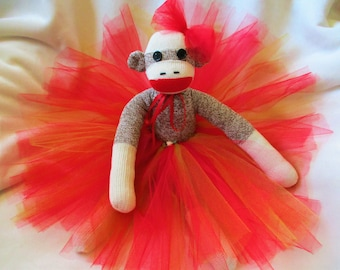 Sock Monkey Prima Ballerina Red Tutu Doll Toy Stuffed Animal Handmade Rockford Red Heel Socks