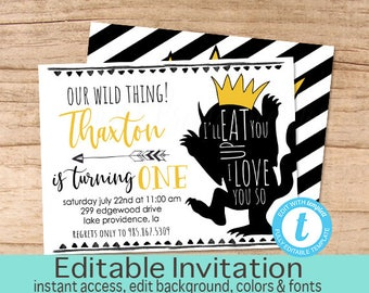 Wild One Birthday Invitation, Wild One Invitation, DIY Editable Birthday invite, Boy First Birthday Invitation, Templett, Instant Download