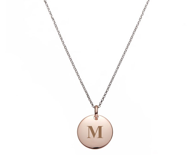 "Personalised Engraved 1.4cm Rose Gold Disc On 17"" Sterling Silver Belcher Necklace"