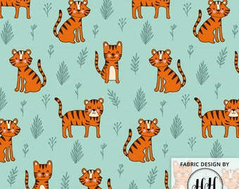 Safari Tiger Fabric By The Yard / Hand Drawn Tigers / Jungle Fabric / Cotton Quilting Fabric / Whimsical Tiger Print in Yards & Fat Quarter