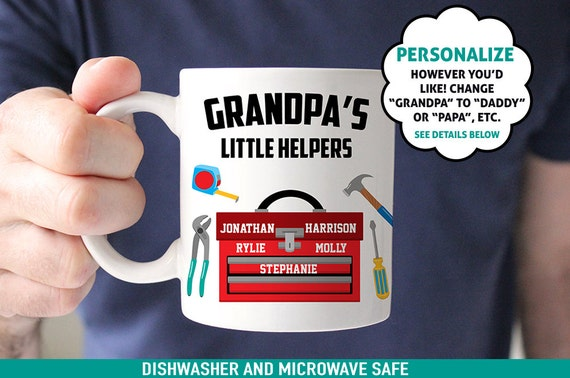 Coffee Mug Grandpa's Little Helpers - Customized Coffee Cup - Personalized with Kids Names - Daddy's Little Helpers