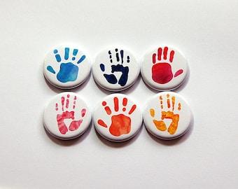 Hand print magnets, Fridge magnets, button magnets, stocking stuffer, magnets for fridge art, finger painting, magnets for kids art (5871)