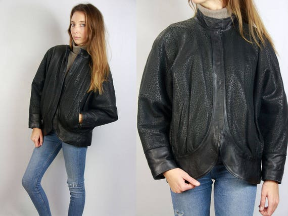 Vintage Leather Jacket / Leopard Print Jacket / Leopard Leather Jacket / Vintage Leather / 70s Leather Jacket / 80s Leather Jacket / Black