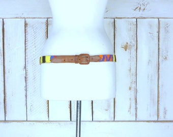 Vintage Guatemalan woven striped knit leather belt/tan leather belt/tribal cloth leather belt/36